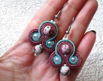 Soutache Earrings mint, dark pink colors- Soutache earrings  -  Handmade Earrings. Mint, dark pink earrings. Small earrings.