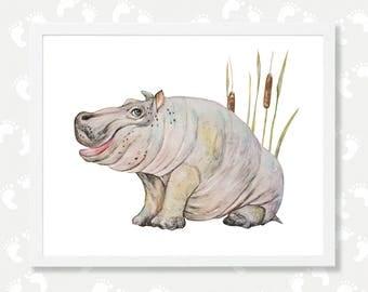 Hippo Art Safari Nursery Printable Art Hippo Watercolor Painting for Kids Hippopotamus Instant Download Zoo African Animal Baby Nursery Art