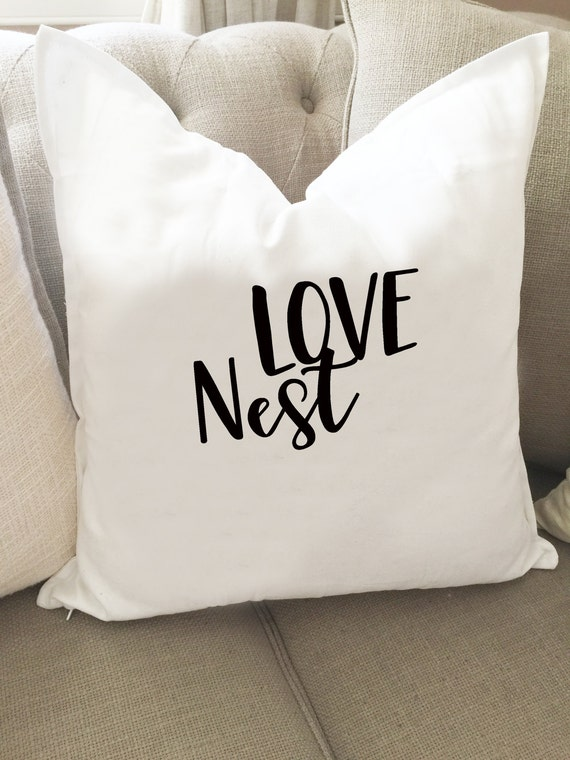 Items similar to Decorative THROW PILLOW COVER/ Our Family / Our Nest / Love Nest Pillow ...