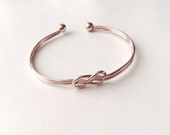Simple layered knot bangle bracelet