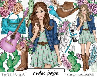 Fashion Girl Clip Art Watercolor Clipart PNG Country Chic Western Rodeo Hand Drawn Babe Illustration Planner Sticker Graphics Basic License