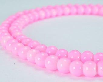 Pink Glass Beads Round 6mm Shine Round Beads For Jewelry Making Item#789222045791