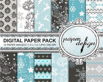 Winter digital paper pack Planner background Snowfake reindeer Christmas tree Blue Christmas 7.5-inch x 7.5-inch pattern #29