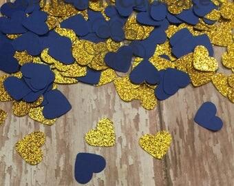 Glitter Confetti/ Navy Gold Glitter Heart Confetti/Birthday Decor/Bachlorette party/Wedding Shower/Gold decorations/glitter party/gold heart