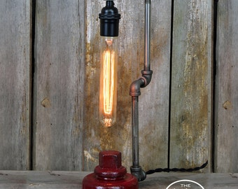 Industrial Fire Hydrant Table Lamp - Steampunk Desk Lamp - Edison Bulb Lamp