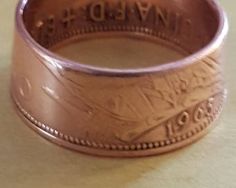 One Penny Coin Ring - Made to Order - Vinatage Coin