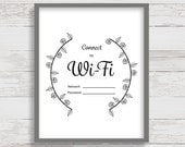 Wifi Password Printable, Wifi Password Sign, Guest Room Sign, 8x10 Instant Download Print, Black and White, Digital Download, Print at Home