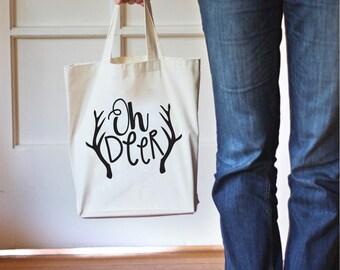 Tote Bag, Oh Deer Tote,Deer Gift,Canvas Tote Bag, Gift Bag, Cotton Bag,Gift for Her,Canvas Bag for Women,Grocery Bag,Printed Bag,Market Bag