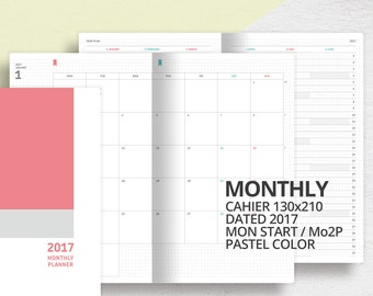 2017 Midori Travelers Notebook Style Cahier Size Insert/Mo2p/Printable Dated Monthly Planner/Monday Start/2017 Monthly Calendar, Scheduler