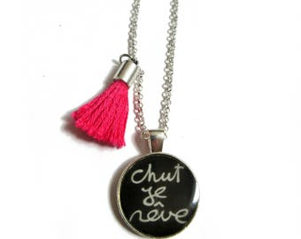 CHUT JE REVE Necklace - Girl Necklace - Inspirational Jewelry - Children Jewelry - Quote Necklace - Gift for Kids - Kids Jewelry