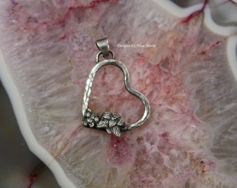 Free Shipping! Handmade Oxidized Sterling Silver Heart and Orcid Pendant #17-131