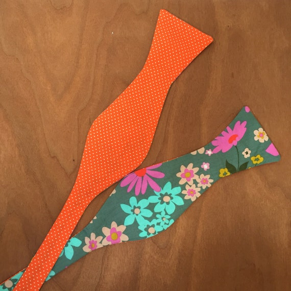floral print, orange pindot, reversible, bow tie, self-tie, adjustable, one size fits all, handmade