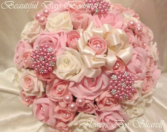Wedding Flowers Pink And Ivory Wedding Bouquet Brides Bouquet Posy Pink And Ivory 8-9 inches
