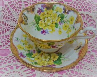 Lavishly Gilded Vintage Royal Albert BUTTERFLIES AND PRIMULAS Cup & Saucer.