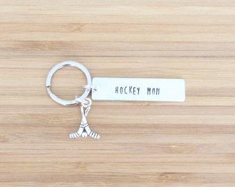 hand stamped keychain | hockey mom