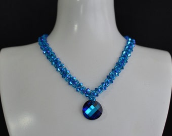 Swarovski crystal necklace Twist crystal bermuda blue and capri blue ab2x necklace