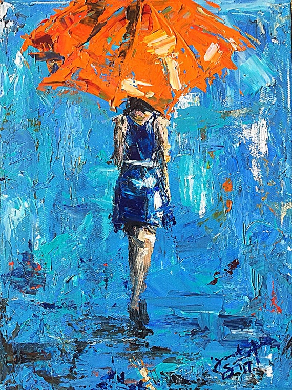 """Umbrella Girl - Feeling Blue - 16""""x12"""", Art Original Acrylic Painting, Acrylic & Palette Knife on Gallery Wrapped Canvas by Jacob Secrest"""