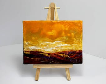 Bogland Sunset - Encaustic Wax Painting on an Easel