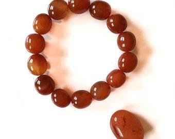 Carnelian Tumbled Stone Elastic Bracelet