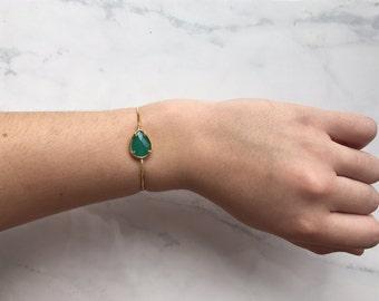 Sea Foam Green Gold Adjustable Bracelet
