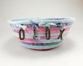 Love Rope Basket, Hugs and Kisses, Gift Basket, Pink, Blue, Rope Basket, Gift Basket, Hand Dyed Fabric, Coiled Rope Basket, Laura Loxley