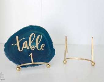 "mini GOLD easels. agate slice stand table number easel wedding decor table decoration 2"", 4"", or 6"""