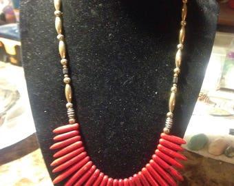 Red n silver fan necklace