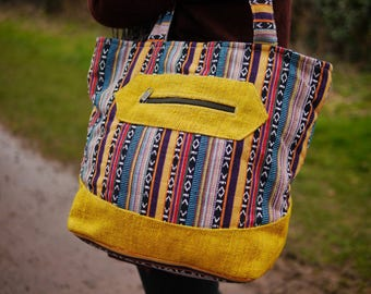 Sunshine Fiesta ~ Multicoloured Cotton and Yellow Hemp Large Shoulder Bag Eco Friendly Vegan Handbag Festival Fashion Ethical