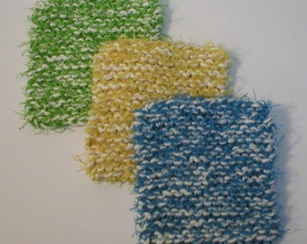 """Handmade Dish Scrubbies Scrubbers, Multi-Color 3-Pack with Green, Yellow, Medium Blue, 4.5"""" (#6405)"""