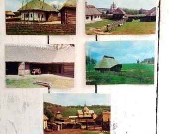 Collectible postcard Museum Folk Ukraine Gift collector Photo postcards Architecture 16 postcards Antique house Soviet postcards  Collection