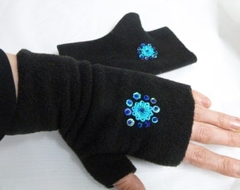 Cosy seqined fingerless mittens