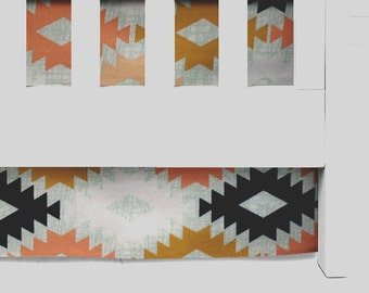Arizona Agave crib skirt, Coral and mint bedding, mint, southwest, aztec, tribal nursery, baby girl or boy, crib skirt, aztec nursery,