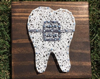 MADE TO ORDER Mini Tooth With Bracket String Art Sign
