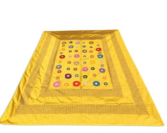 Indian Silk Embroidery Floral Design Yellow Color Double Bed Cover 260x240 CM