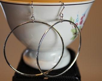 Two Earrings Large Hoop Handmade Solid Sterling Silver