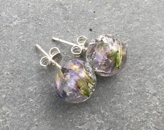 Real flower earrings, flower earrings, stud earrings, resin earrings, girlfriend gift, gift for her, anniversary gift, wedding gift, gift