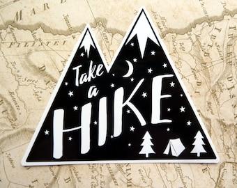 Take a HIKE, Gloss Vinyl Sticker, Travel Sticker, Laptop Stickers Wanderlust, Mountains, Adventure, Hiking, Quote, Journal, Travel gift,