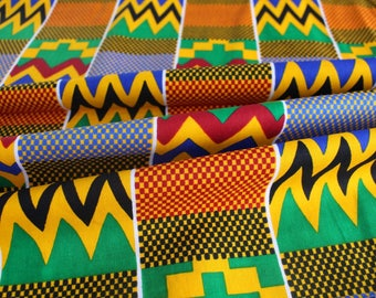 Kente Print Fabric - Ankara African Print - African Fabric for sewing - Wax Print Fabric - Kente African Print - Fabric per yard