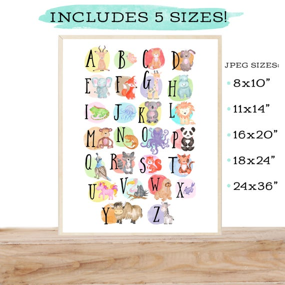 Alphabet poster - Alphabet art - Alphabet print - ABC wall art - ABC print - Nursery art - Nursery decor - Kids room decor - Children's art