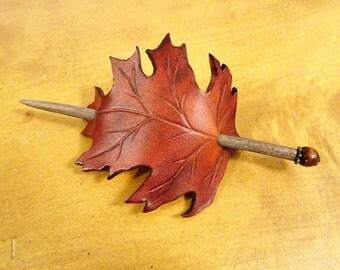 Oak leaf leather hair brooch-