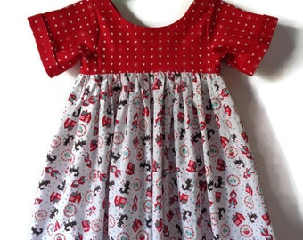Girls dress, red riding hood, big bad wolf, girls clothes, party dress, occasion dress, toadstool dress, fairytale dress, girls clothing