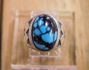 Southwestern Turquoise Sterling Silver Ring Size 7.5