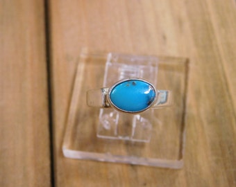 Unique Turquoise Sterling Silver Ring Size 8.5