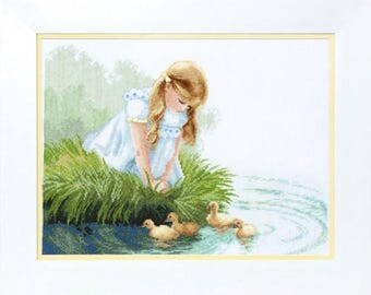 Counted Cross Stitch Kit Girl with ducklings
