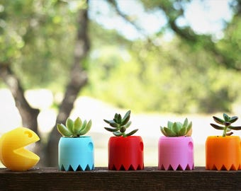 Pacman and Ghost Planter 3D Printed