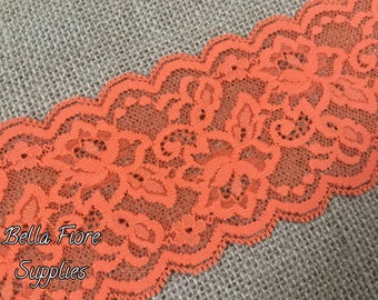 Orange Stretch Lace Trim- Orange Lace- 3 Inch Wide Lace- 3 Yards- Wide Stretch Lace- Wholesale Lace- DIY Headband- Lace by the Yard
