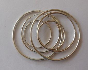 Sterling Silver, Sterling Silver Endless Hoop Earrings, Silver Tube Earrings, Silver Plain Hoop Earrings, 3 matching pair of  hoop earrings.
