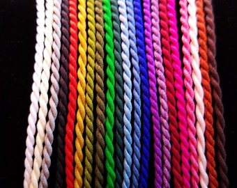 "Twisted Silk Cord Necklaces With Nickle-Free Clasp, 14"", 15"", 16"", 17"", 18""  – 21 Colors!"