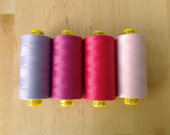 Pink Gutermann Thread choose one in purple, lavender, hot pink, baby pink, orchid all purpose sewing thread, mara 100, 1000 meter spool