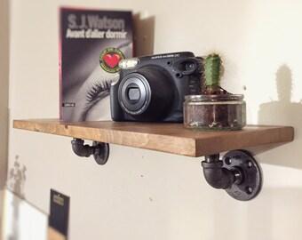 """Industrial wooden pipe wall shelf  24"""" model """"Lolita """""""
